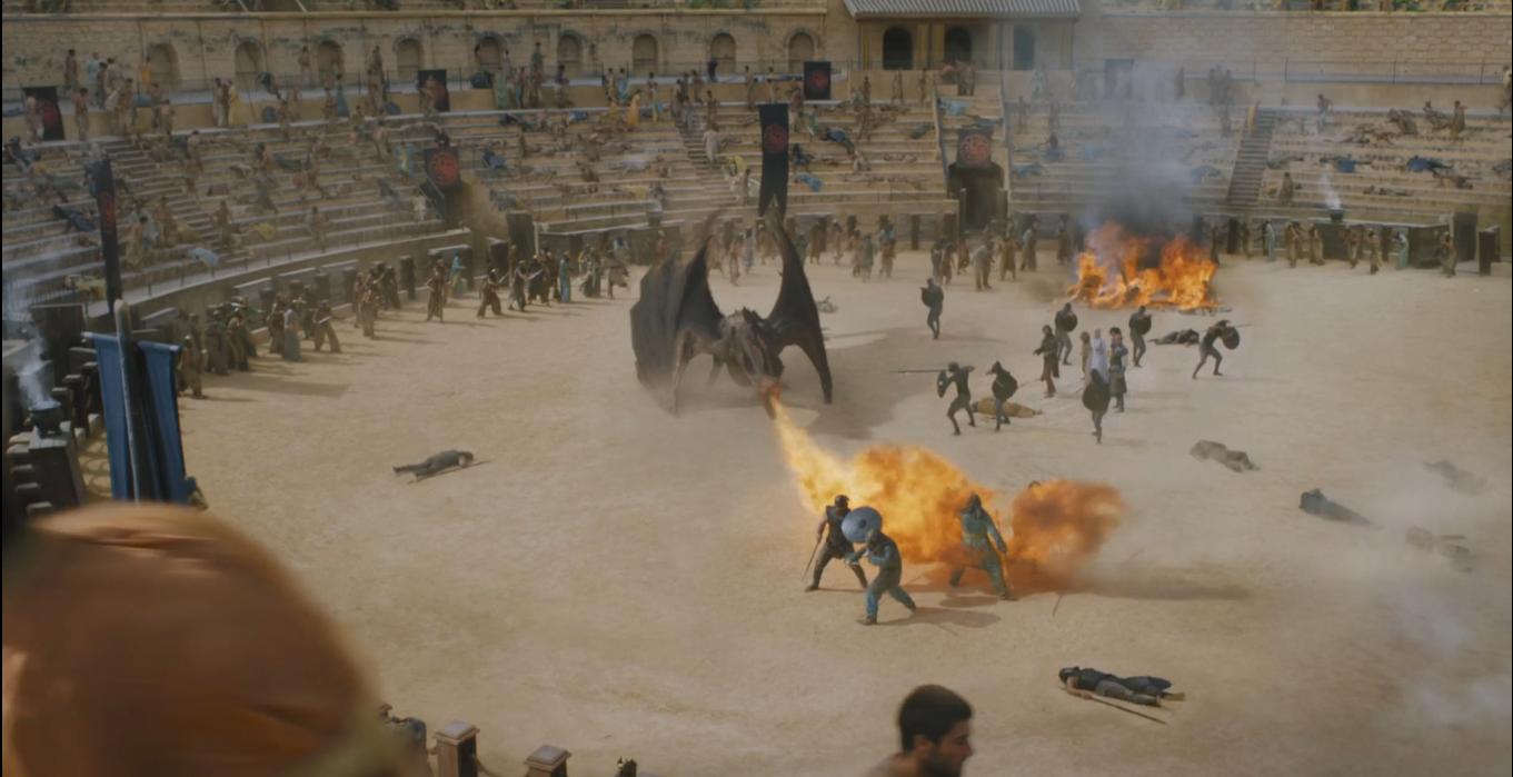 Lucha de Drogon con los hijos de la arpia en Juego de tronos - Los viajes de Margalliver