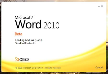 Office 2010 Beta Word Splash Start Screen