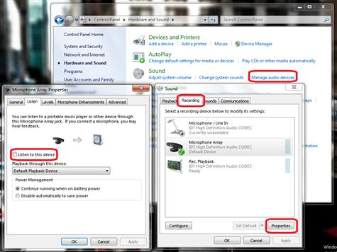 listen to mic feedback in windows 7