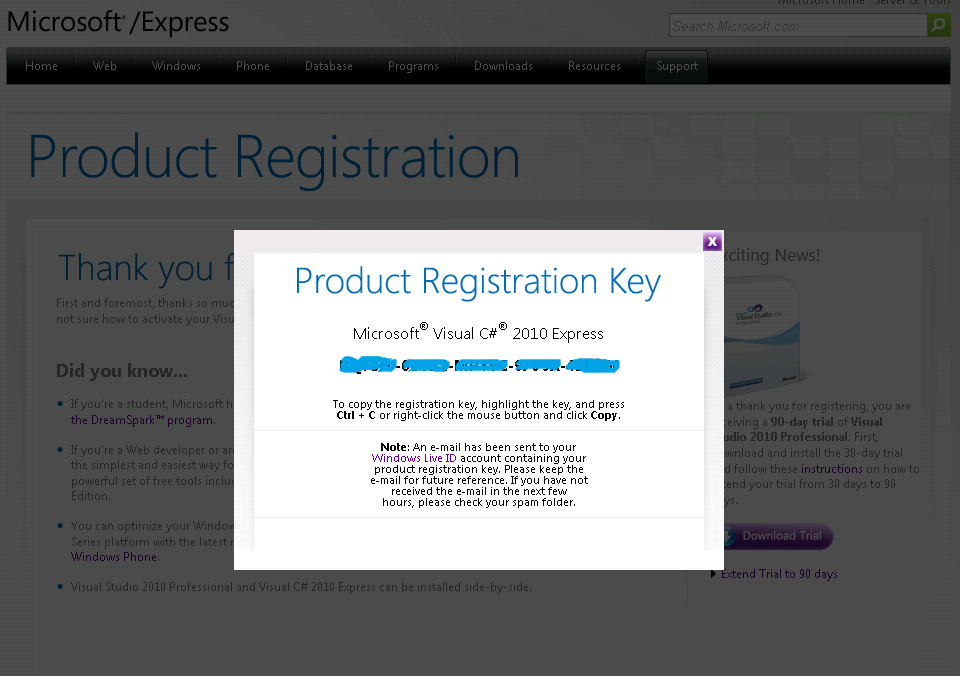 Microsoft Visual Studio 2010 Express Registration Key