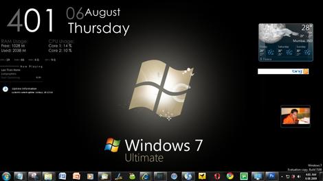 Windows 7 Ultimate Black Rainmeter Desktop Screenshot