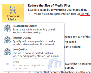 Office 2010 Powerpoint 2010 Save As COmpress Media Backstage