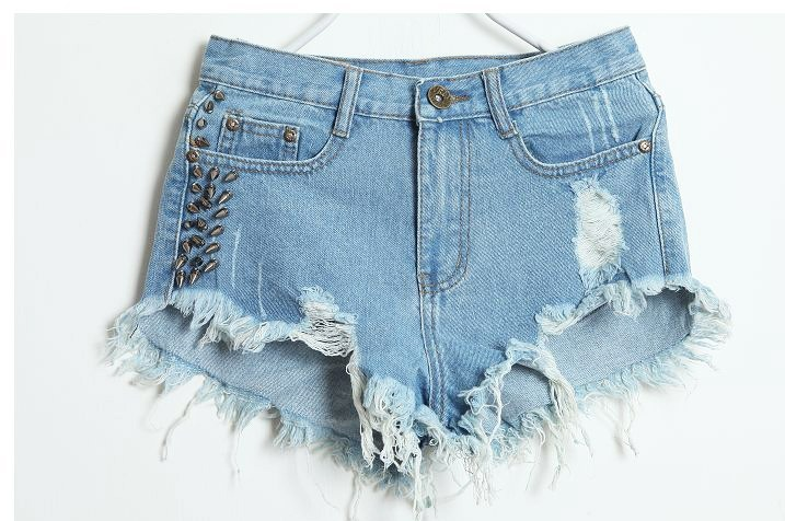 Ripped Denim Shorts Womens