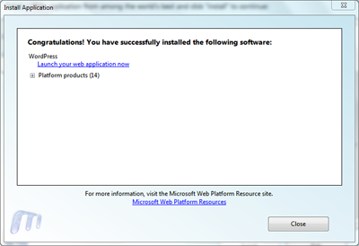 Microsoft web platform installer install wordpress