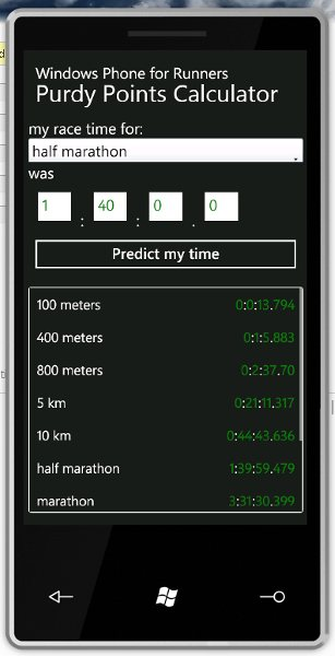 Purdy Points Calculator on Windows Phone 7 Emulator
