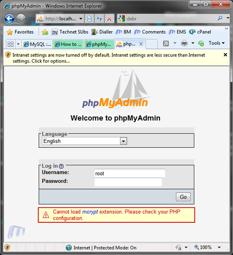 phpmyadmin windows login
