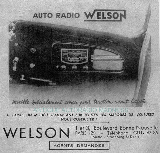 Publicité vintage autoradio CITROEN Traction modèle WELSON - 1949 - 1