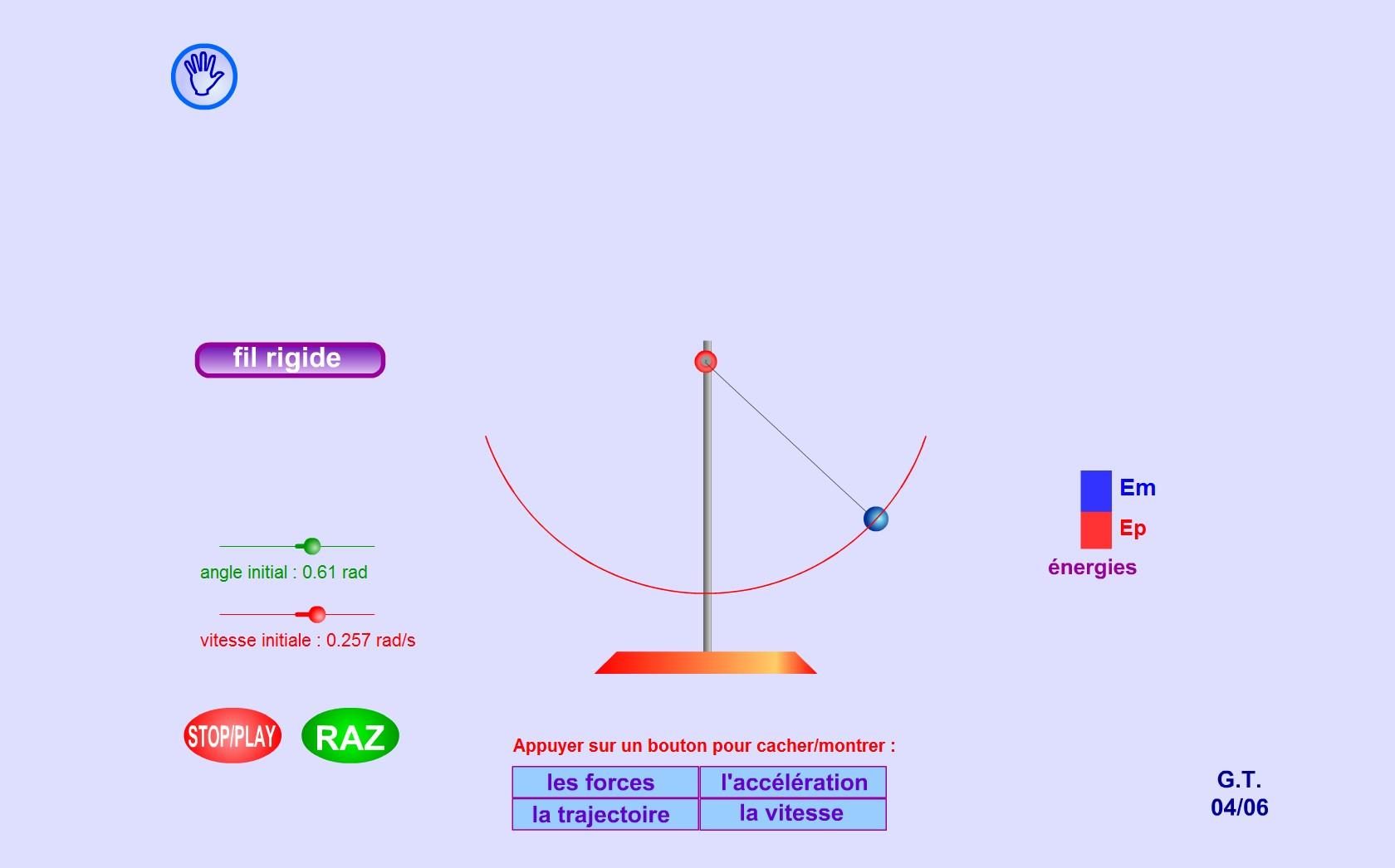 Nu există numai oscilatori elastici. Observă aici cum greutatea poate să provoace oscilaţii pendulului gravitaţional. Modifică valorile unghiului şi vitezei.