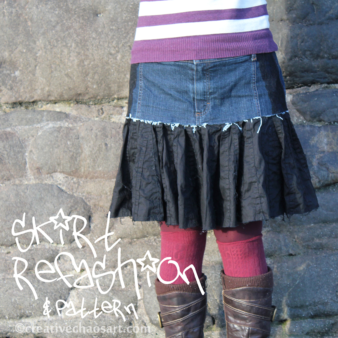 http://creativechaosart.blogspot.co.uk/2013/02/skirt-refashion-pattern.html