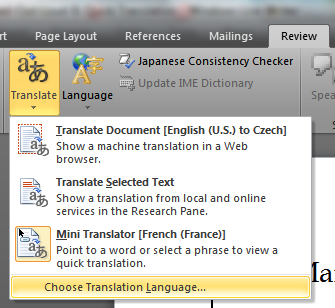Office 2010 Word Mini Translator