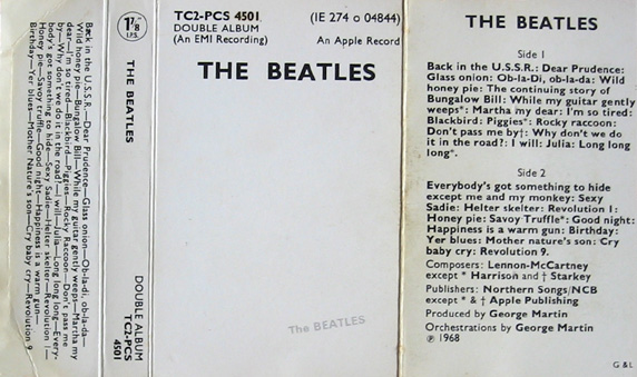 1971 White Album UK Cassette Inlay