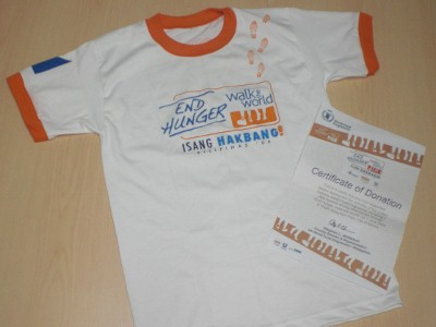 With your P150 donation you gat a pretty nice shirt, a bandana (not shown), and a certificate of donation.