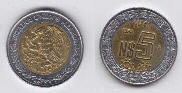 MONEDAS DE 5 PESOS ACTUALES TRES ETAPAS MEXICO Mexico-5%20Nuevos%20Pesos-1994-Bimetalica