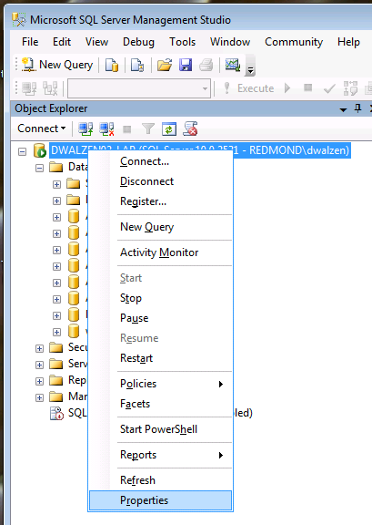 SQL Server 2008: Server Properties