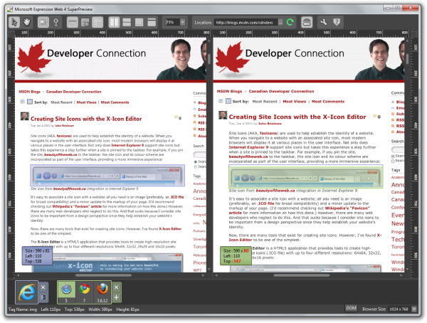 Microsoft Expression Web 4 SuperPreview showing IE9 and Safari 5