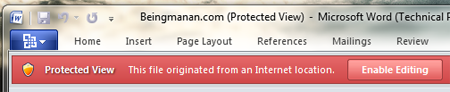 Protected View in MS Office 2010