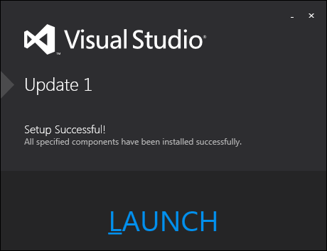 Visual Studio with update 1 install