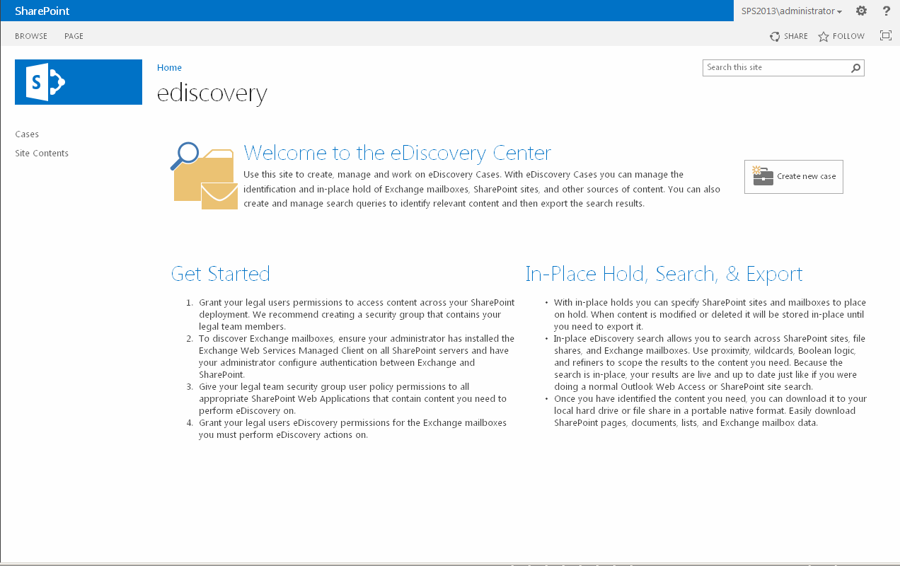SharePoint 2013 eDiscoveryCenter