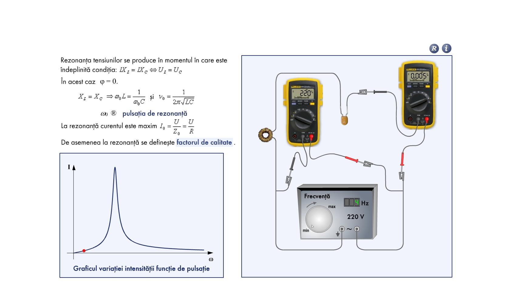 Rezonanaţa tensiunilor în circuitul RLC serie