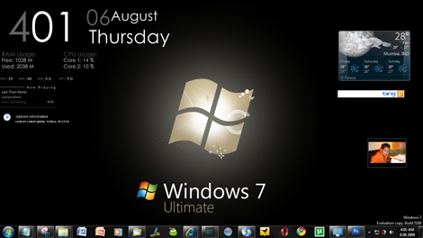 Windows 7 Ultimate Black Rainmeter Desktop Screenshot