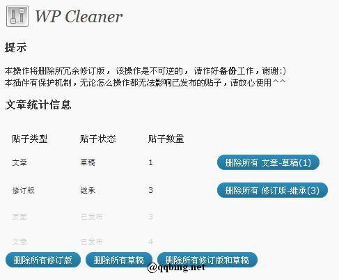 wordpress冗余数据清理
