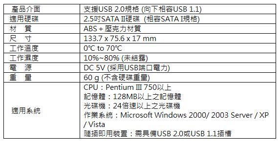 SEVAS SATA硬碟外接盒 規格表