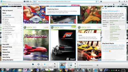 Microsoft Live Labs Pivot Xbox Live Market place