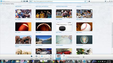 Microsoft Live Labs Pivot home page collection