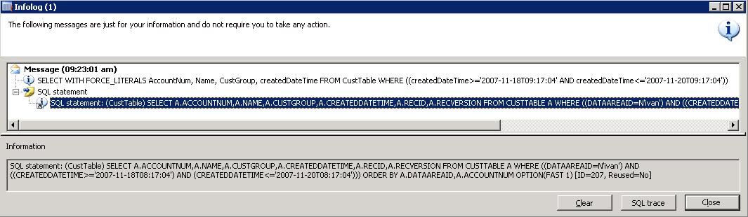 SQL Trace for UtcDateTime range
