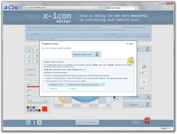 X-Icon Editor site icon export