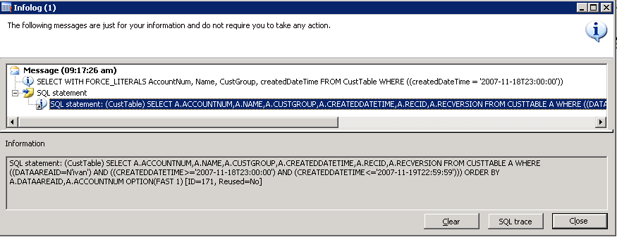 SQL trace for Date filter on UtcDateTime field