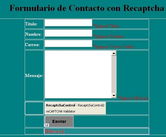 Formulario de Contacto con Recaptcha Asp.Net