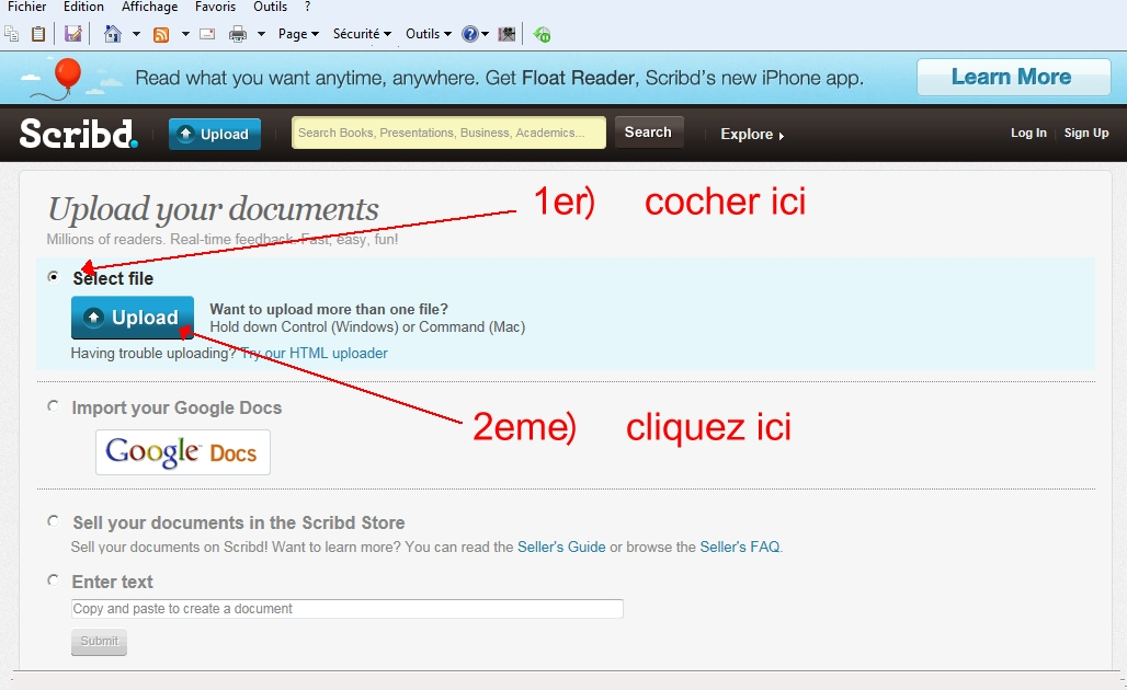 Didacticiel pour inserer un fichier PDF lisible dans un post Scribb%201