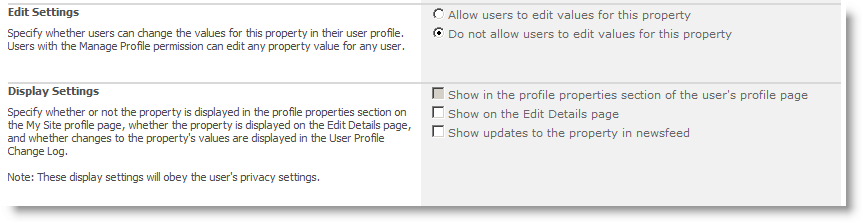 Edit User Profile Property screen