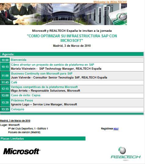 Invitación Evento Microsoft-Realtech España