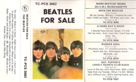 1970 Beatles For Sale UK Cassette Inlay