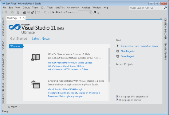 Start page in VS11 beta