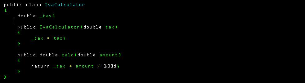 Código clase calculadora de impuestos en C#
