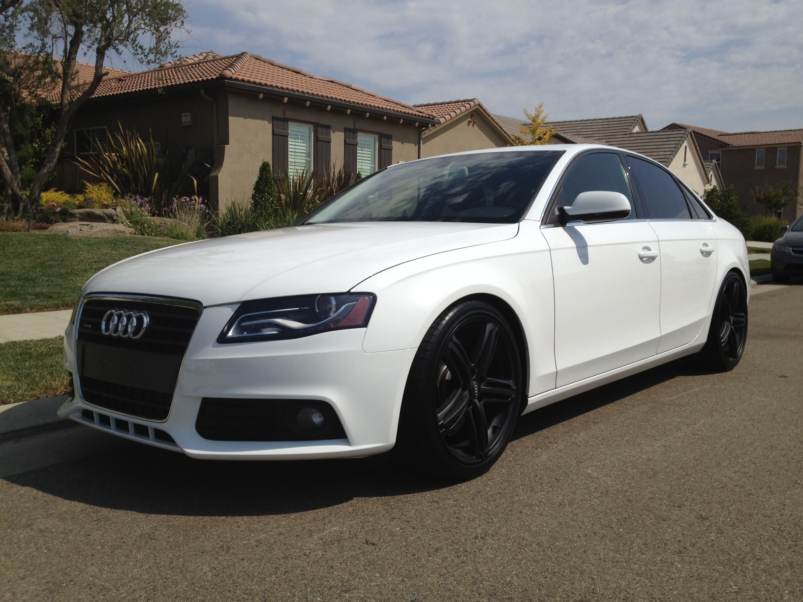 Audi A4 White with Black Rims