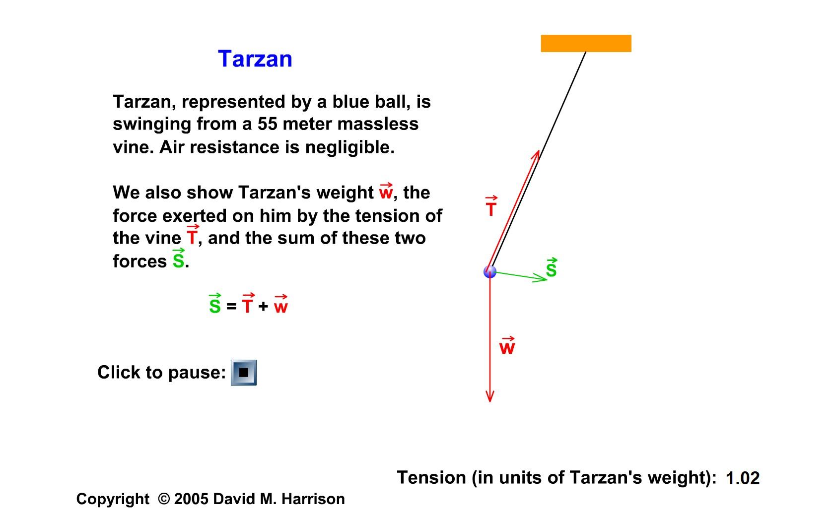 Forţe care acţionează asupra pendulului: W - greutatea, T - tensiunea în fir, S - rezultanta