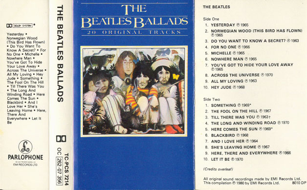 1980 The Beatles Ballads UK Cassette Inlay