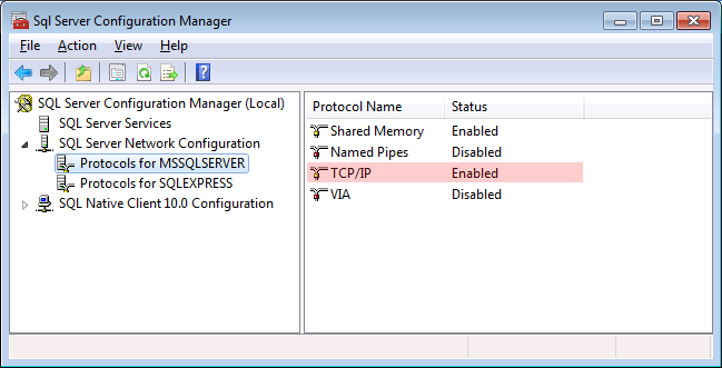 SQL Server 2008: Protocols for MSSQLServer