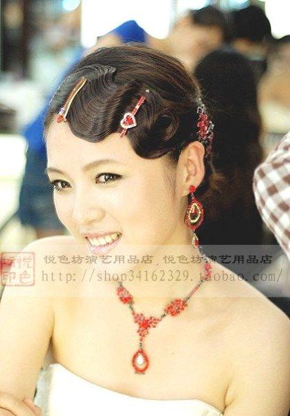 新娘跟妆旗袍波浪刘海/水波纹复古造型刘海假发卷发图片