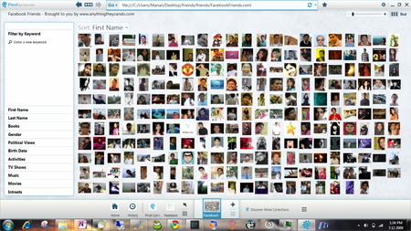 Microsoft Live Labs Pivot browser facebook friends pivot screen shot