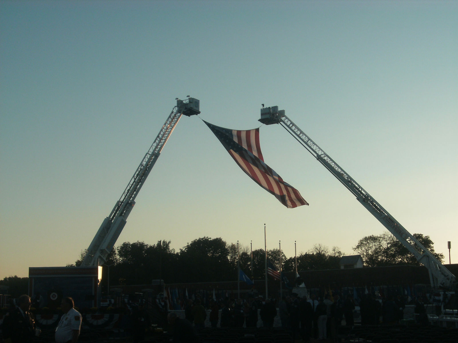Flag from 9/11 Site Flys over the Memorial