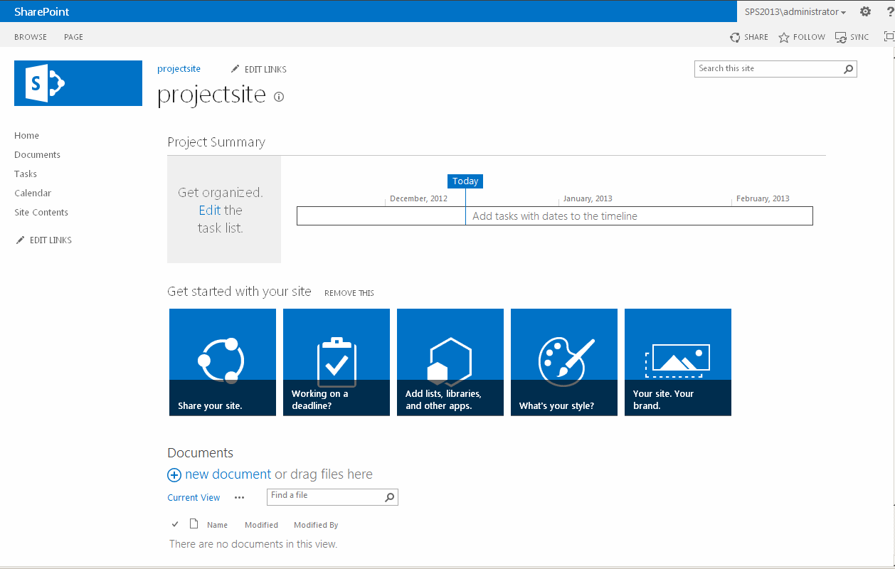 SharePoint 2013 Project site
