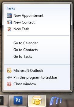 Windows 7 Jumplist vs MS Office 2010