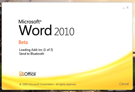 Office 2010 Beta Word Splash Start Screen