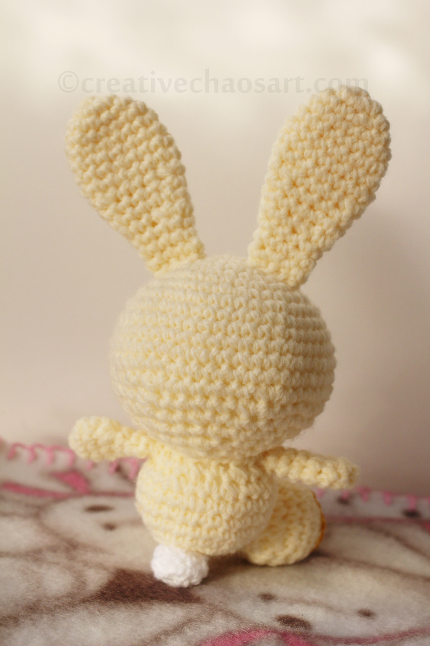 I Crocheted This Little Bunny In A Cream Yarn, With Felt Paws, Button Eyes,  And Some Vintage Fabric Ears!
