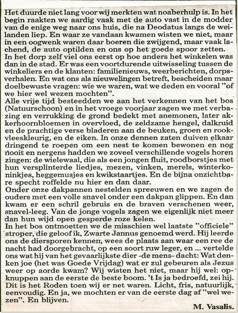 M. Vasalis krantenbericht.